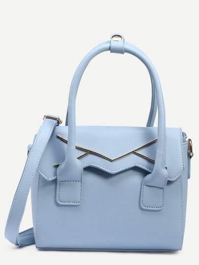 Blue Metal Plate Embellished Cut Flap Satchel Bag