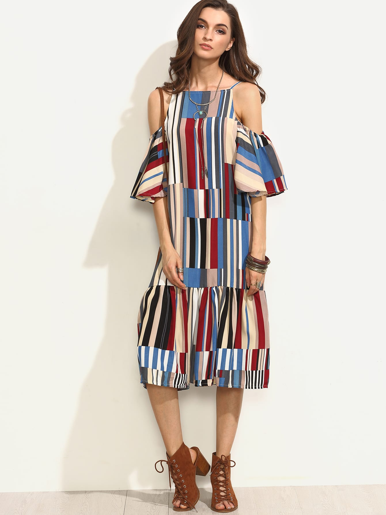 Colorful Printed Cold Shoulder Ruffle DressColorful Printed Cold Shoulder Ruffle Dress<br><br>color: Multicolor<br>size: one-size