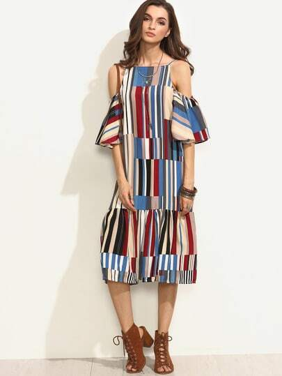 Colorful Printed Puff Sleeve Dress