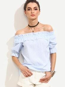 Blue Vertical Striped Ruffled Off The Shoulder Blouse
