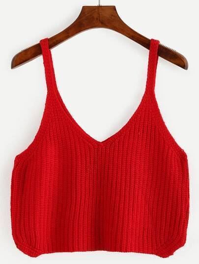 Red Crop Knitted Cami Top