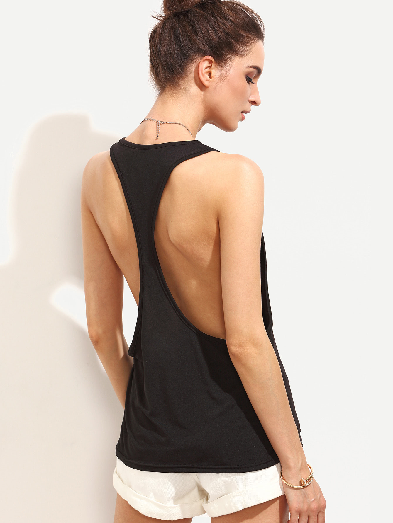 Drop Armhole Racerback Tank Top attractive round neck racerback tank top for women