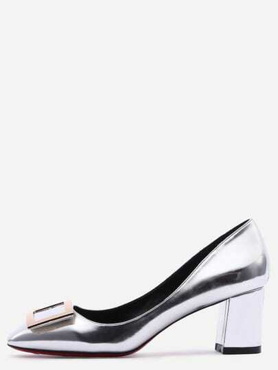 Silver Square Toe Metal Decorated Chunky Pumps