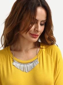 Silver Fringe Pendant Necklace