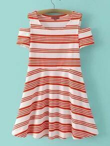 Red Cold Shoulder Stripe A-line Dress