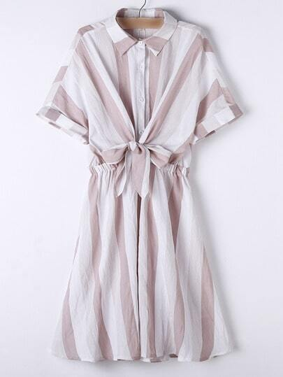Apricot Lapel Roll-up Cuff Bow Stripe Dress