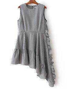 Black And White Plaid Asymmetric Ruffle Hem Dress