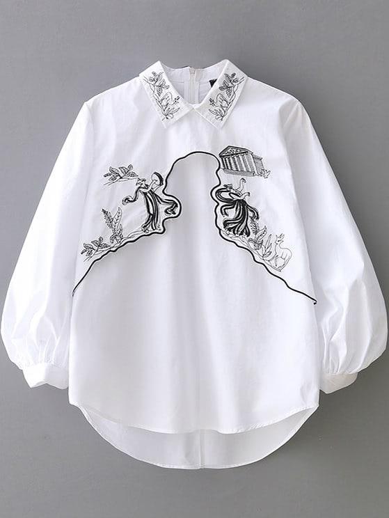 White Lantern Sleeve Embroidery Dipped Hem Blouse