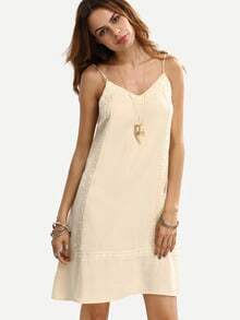 Beige Spaghetti Strap Crochet Trim Shift Dress