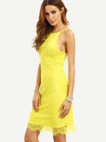 Yellow Spaghetti Strap Backless Crochet Bodycon Dress