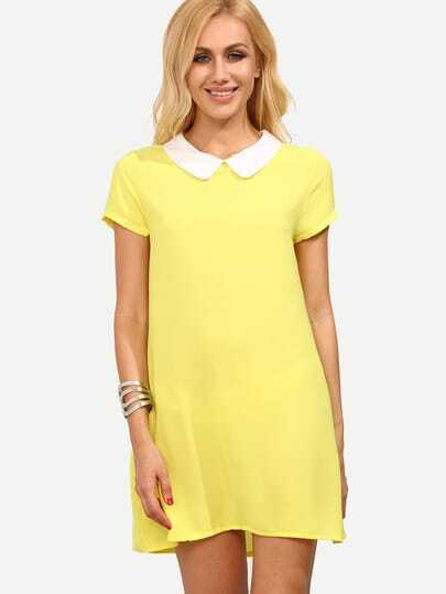 Yellow Peter Pan Collar Short Sleeve Shift Dress