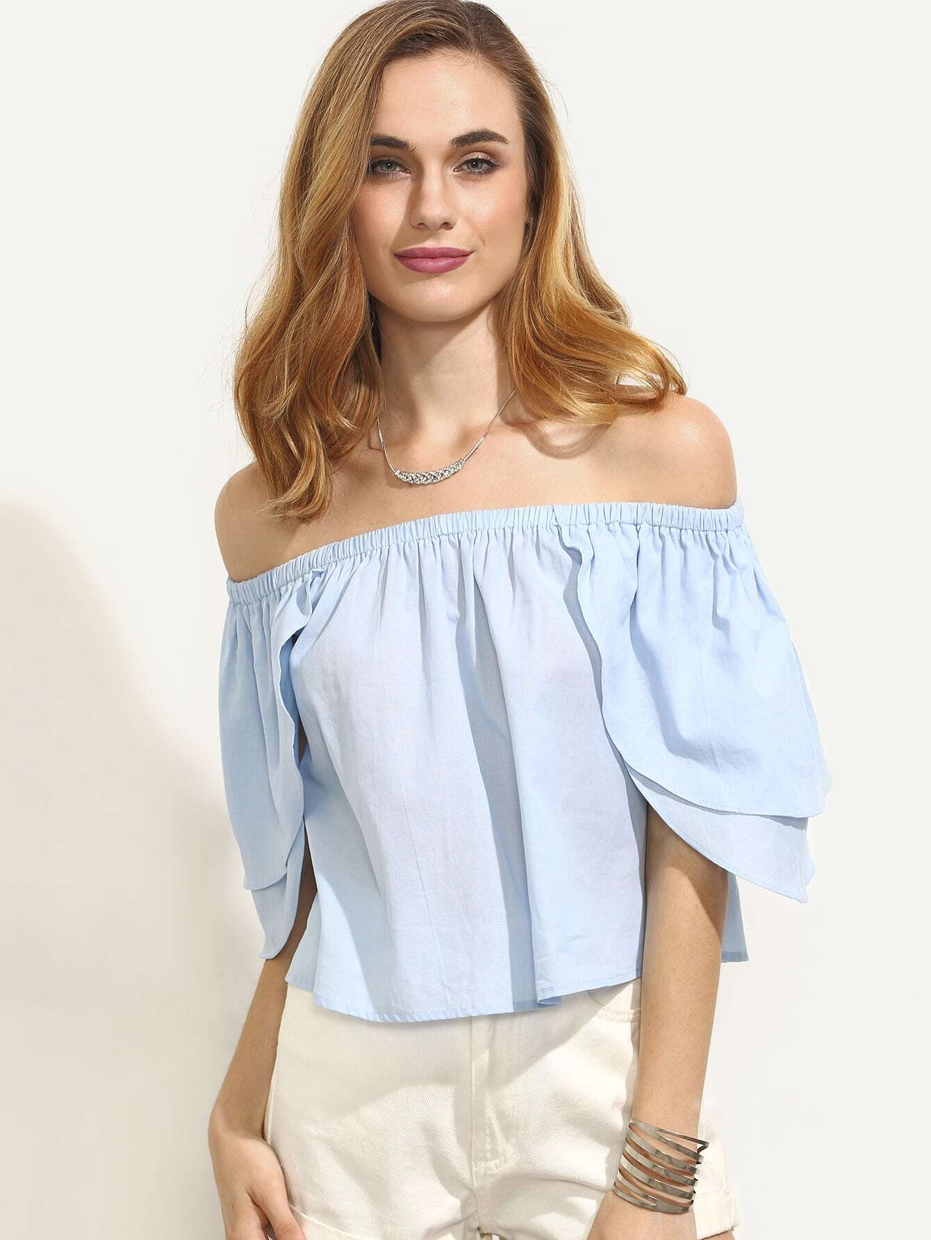Blue Off The Shoulder Ruffle Sleeve Blouse
