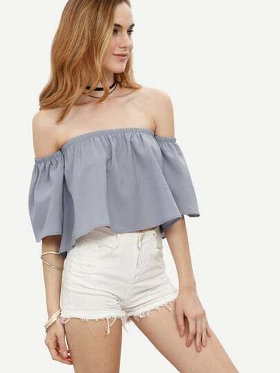 Grey Ruffle Off The Shoulder Crop Blouse