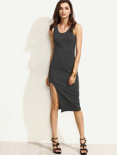 Grey Scoop Neck Sleeveless Split Sheath Dress