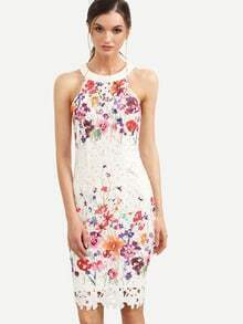 Multicolor Floral Cutout Back Sleeveless Sheath Dress