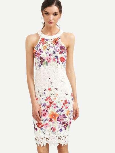 Multicolor Floral Cutout Back Sleeveless Sheath Dress