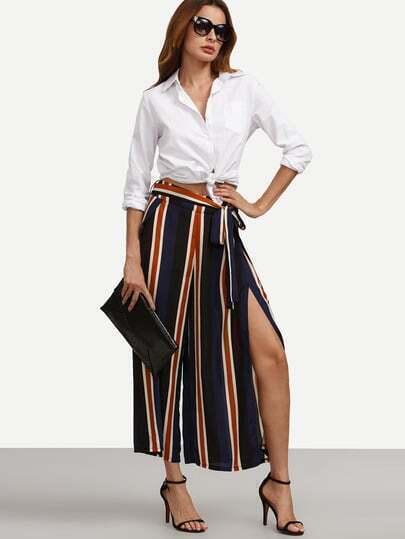 Multicolor Striped Tie Waist Split Wide-leg Pants