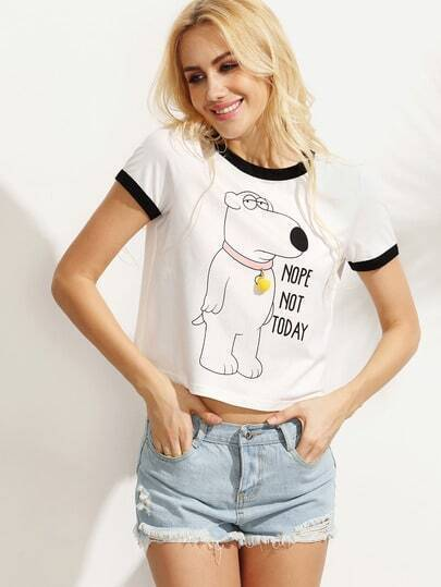 White Letters Animal Print Short Sleeve T-shirt