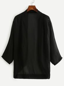 Black Dropped Shoulder Chiffon Kimono
