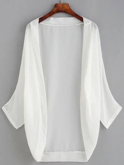White Dropped Shoulder Chiffon Kimono