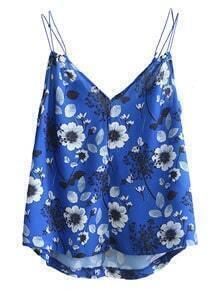 Blue V Neck Floral Cami Top
