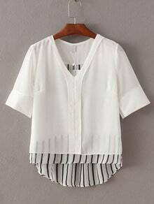 White V Neck Dipped Hem Chiffon Blouse