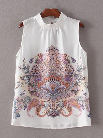 White High Neck Sleeveless Printed Blouse
