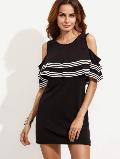 Black Open Shoulder Striped Ruffled Dress