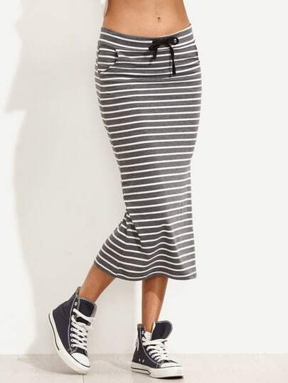 Striped Drawstring Waist Tea Length Skirt