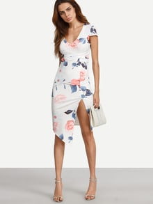 Floral Cap Sleeve V Neck Split Asymmetrical Dress