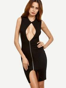 Black Sexy Cutout Zipper Sleeveless Dress