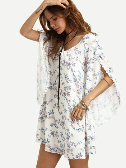 Multicolor Floral V Neck Split Sleeve Dress