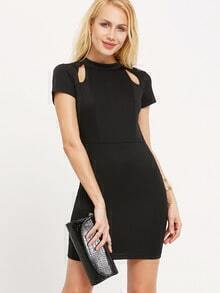 Black Cutout Short Sleeve Bodycon Dress