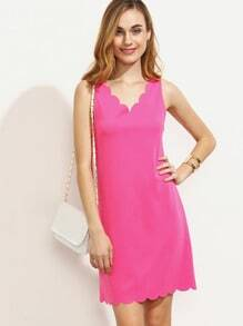 Hot Pink Scallop Trim V Neck Sleeveless Dress