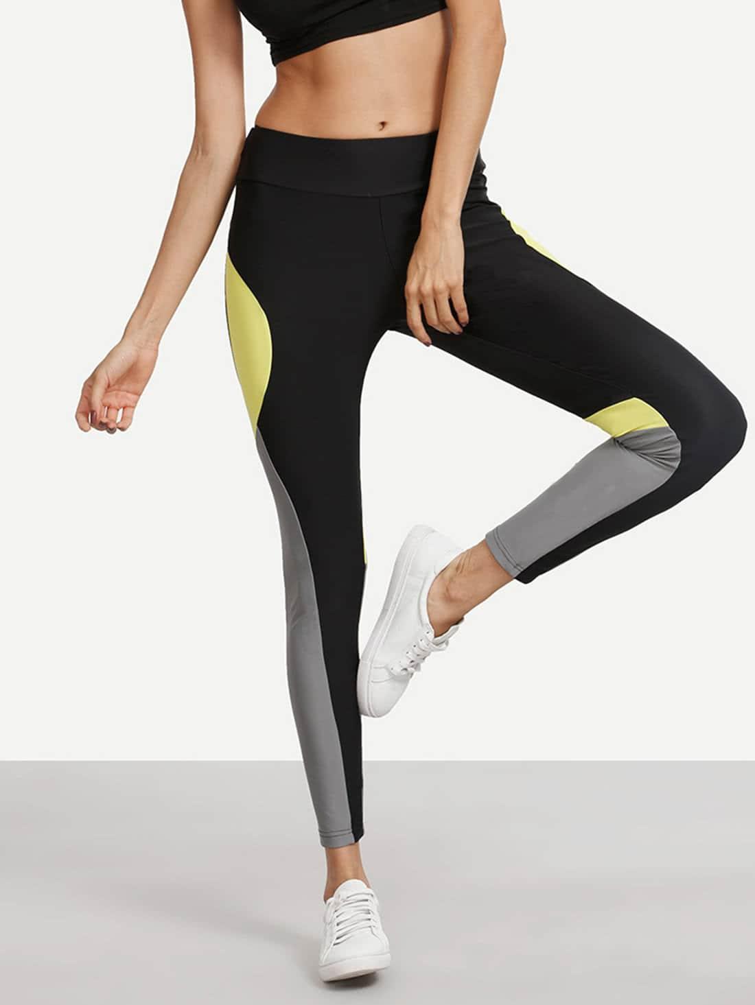 Colorblock Stretchy Skinny Leggings empire skinny leggings