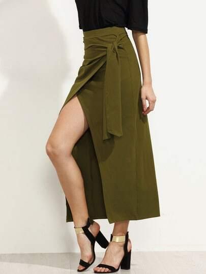 Army Green Pleated Tie Wrap Asymmetrical Skirt