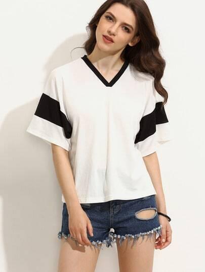Black and White V Neck Short Sleeve T-shirt
