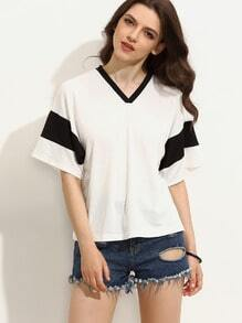 Black and White V Neck Short Sleeve T-shirt