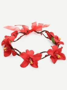 Cerchietto per capelli con applicazione a fiore - rosso