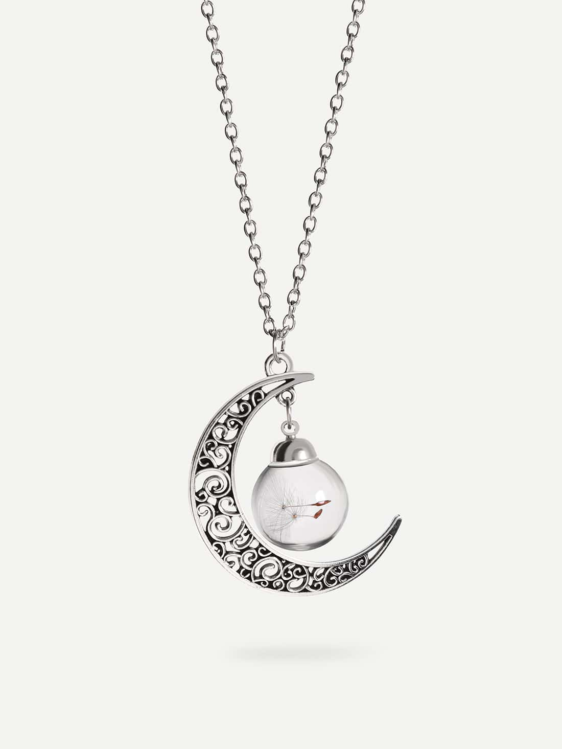Фото Glass Globe Moon-shaped Pendant Necklace. Купить с доставкой