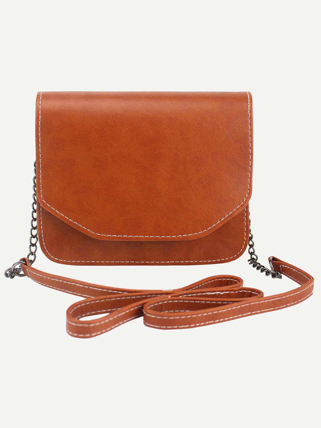 Distressed Hidden Button Flap Chain Bag
