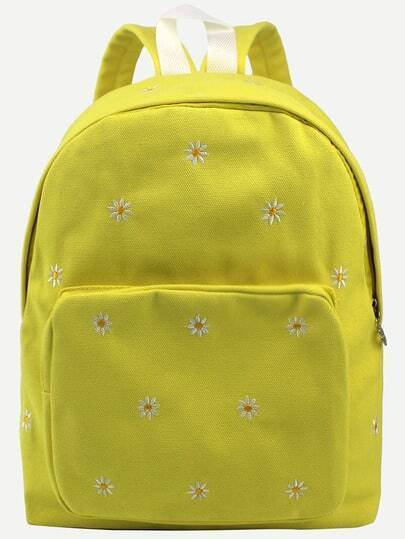 Yellow Daisy Embroidered Canvas Backpack