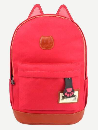Red Canvas Backpack With Cat Ears