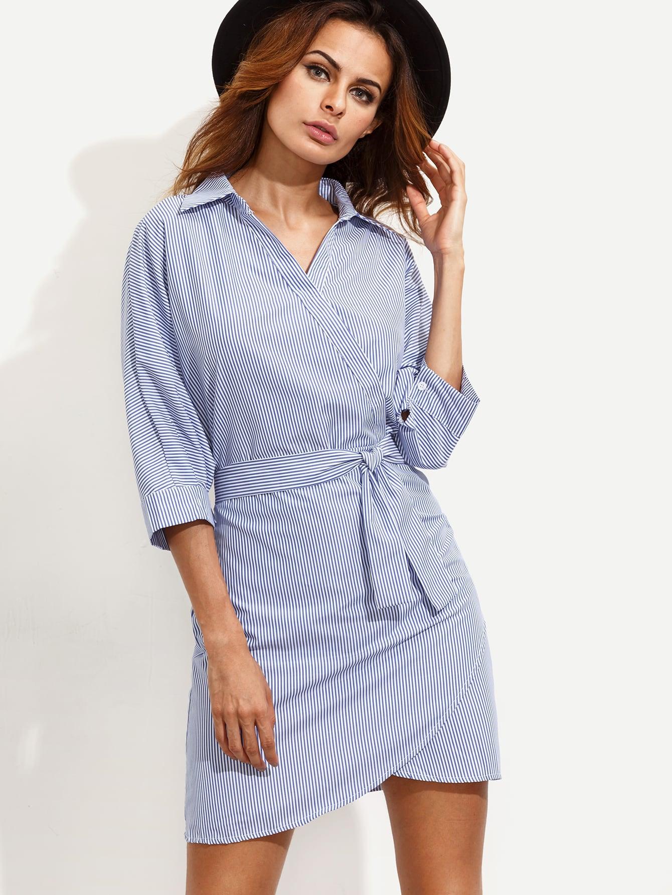 blue vertical striped wrap shirt dress shein sheinside