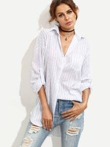 Navy Vertical Striped Drop Shoulder Roll Sleeve Blouse
