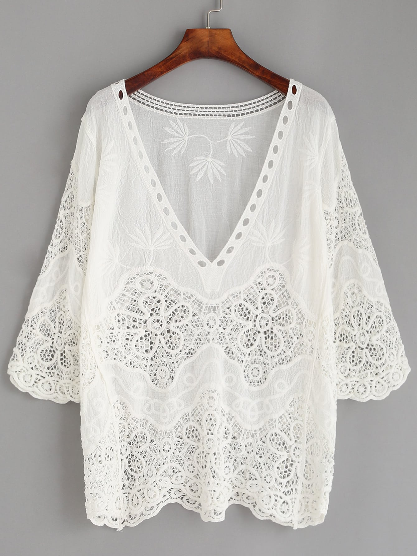 Hollow Out Crochet Insert Embroidered Blouse frill detail crochet insert embroidered mesh top