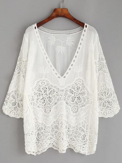 Hollow Out Crochet Insert Embroidered Blouse