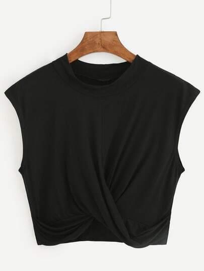 Black Crop Draped T-shirt
