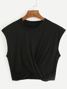 Black Crop Draped T-shirt