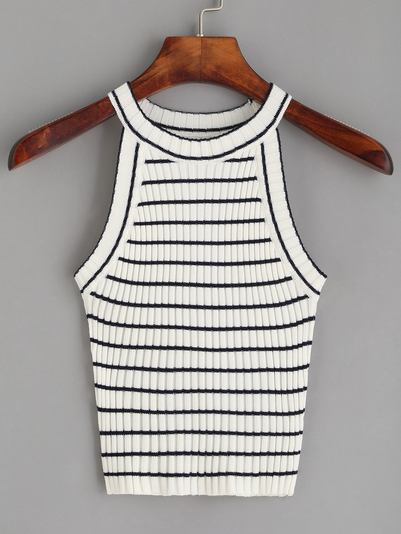 White Striped Ribbed Knit Top vest160630001